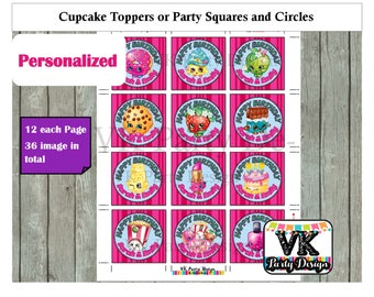 Shopkins and Shoppies Cupcake Toppers or Party Circles and Squares