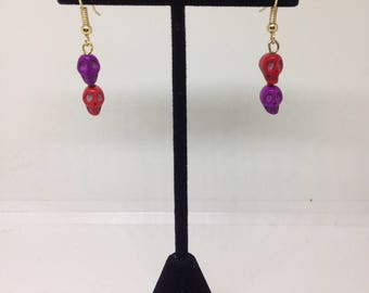Red and Purple Skull Earrings