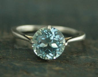 Unique Engagement Ring--Sterling Silver Engagement Ring--NSEW Prong Setting--Antique Style Ring--Blue Topaz Ring--Aquamarine Ring--Sky Blue