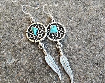 Dreamcatcher Earrings - Feather Earrings - Turquoise Earrings - Boho Dangle Earrings - Gift For Her - Tribal Earrings - Native American