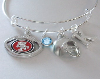 San Francisco  CHARM / Helmet  Bangle W/ Birthstone / Initial Football Charm Bangle / Bracelet - Sport Bangle - Gift For Her  Usa  Sp1