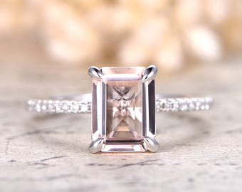 6×8mm Emerald Cut Morganite Ring Morganite Engagement Ring Emerald Cut Ring Diamond Pave Ring Thin Pave Band Valentine Gift for Her