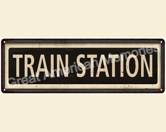 framed train station vintage look reproduction 6x18 metal sign 6180036