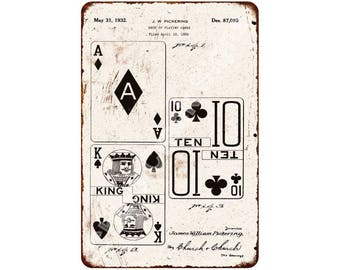 1932 Deck of Playing Cards Vintage Look Reproduction 8x12 Metal Sign 8120983