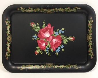 Vintage Metal Serving Tray/ Vintage Floral Tray