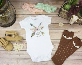 Wild One  Onesie®, Bodysuit or Infant Tee Baby Shower Gift Baby Girl Clothes Boho Baby Clothes Cute Baby Clothes Cute Onsie Arrows Feathers