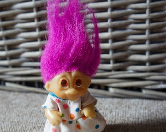 Vintage 1985 Dam Pink Hair Troll In Polka Dot Dress, Retro, Collectible, Toy, Gift, Sister, Birthday, Friend, Daughter, Girlfriend,