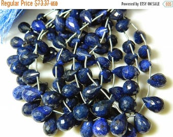 ON SALE 50% Blue Corundum Briolettes, Sapphire Beads, Faceted Tear Drop Beads, 18 Pieces, 6x8mm To 10x14mm Each