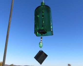 Recycled Jagermeister Liquor Bottle Wind Chime, Green Liquor Bottle Wind Chime, Jagermeister Bottle,