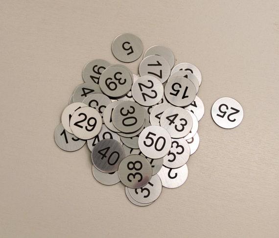 Set Of 60x3cm Custom Engraved Number Discs Self Adhesive