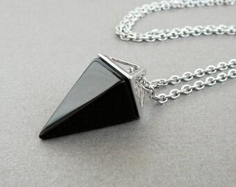 Black Onyx Necklace black agate pendant Long necklace Black Pyramid pendant for women Black Necklace for girl necklace Black onyx jewelry