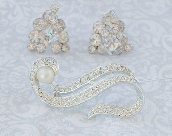 WEISS or SCHREINER unsigned vintage clip earrings and Panetta Style Brooch