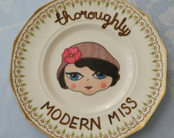 Thoroughly modern miss vintage illustrated plate. Decorative plate. Upcycled plate.