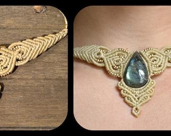 macrame necklace with labradorite stone