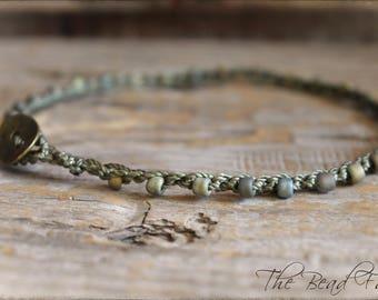 Beaded Anklet, Beaded Crochet Anklet, Crocheted Anklet, Beaded Crochet Jewelry, Boho Beach Jewelry, Crochet Beaded Anklet, Crocheted Jewelry