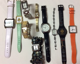 Watch lot, Lot of 10 watches for crafts or parts, Bracelet watches, Leather Band Watch Lot, Watch parts, Watch supplies, Untested