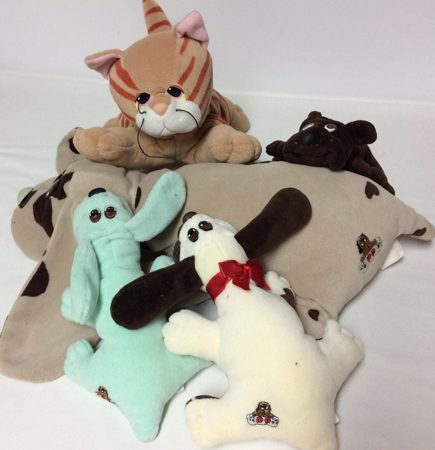 Vintage Pound Puppies Plush Lot Spotted Dog Orange Cat Brown
