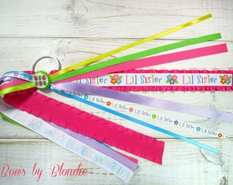 Custom made Little Sister bottle cap Double ruffle ponytail streamer!