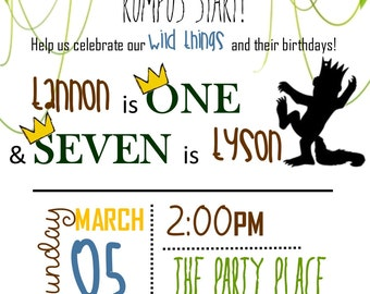 Where the Wild Things Are Party Invitation