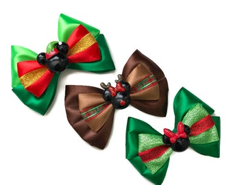 Christmas Mickey Disney Inspired Hair Bows Mickey Elf Hair Bow Minnie Reindeer Hair Bow Disney Christmas Hair Bow