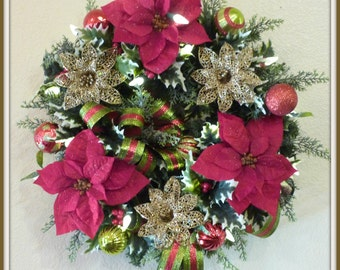 Christmas Wreath With Lights, Prelit Christmas Wreath, Red Poinsettia Door Wreath