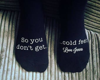 So you dont get cold feet- Groom socks- wedding socks - wedding gift- groom gift- best man socks- wedding party