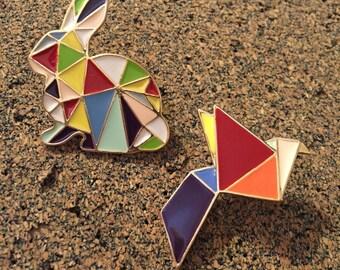 Origami Bird and Rabbit Lapel Pins