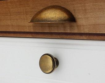2.5u0027u0027 Cup Pull Bin Drawer Knob Pull Handle Dresser Pulls Knobs Round  Antique Brass