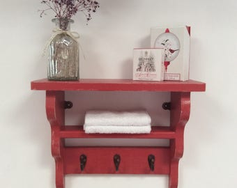 Hand made Lightly distressed red shabby chic pine shelf