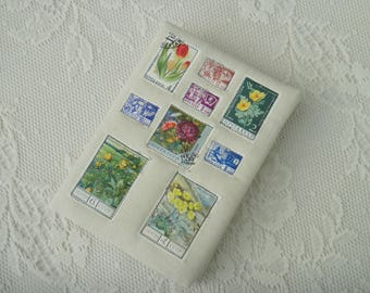 Hand-bound Book with Appliqued Vintage Soviet Postage Stamps of Flowers