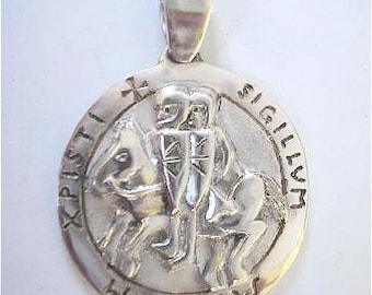 seal of the Templars massive Silver Pendant
