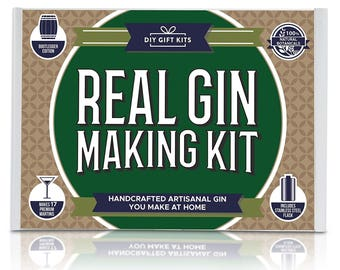Real Homemade Gin Kit & Stainless Steel Personalized Flask: Makes Delicious Martinis + Cocktails At Home.  Botanicals, Recipes and Bottles!