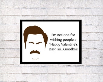 Funny Ron Swanson Printed Valentineu0027s Day Greeting Card, Printed Funny  Parks And Rec Greeting Card