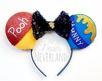 Winnie the Pooh Inspired Ears, Winnie the Pooh Mickey Ears, Disney Inspired Winnie the Pooh Ears, Poohs Corner, Disneyland PREORDER ears