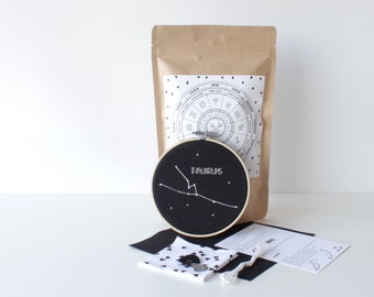 Taurus Embroidery Kit With Easy to Follow Instructions & Supplies Stylish Cross Stitch Star Design Zodiac Pack Handcrafted Gift Star Sign