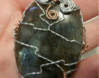 Labrodite Wire Wrapped Necklace