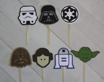 12 Star Wars Cupcake Topper Storm Trooper Darth Vader Empire R2D2 Chewbacca Leia Yoda - Your Choice