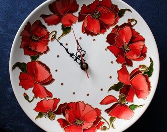 Wall clock Porcelaine clock for kitchen Wall decor Kitchen clock Home decor  Present for her gift Wall decor