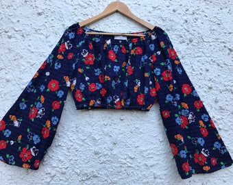 Gypsy Bell Sleeved Crop Top / 70s / Retro / Recycled Fabric