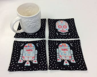 STAR WARS FOLKLORE Style Coasters/Mug Rugs/Reversible/Black Polka Dot/Set of 4/R2D2/C3PO/Last Set Available!