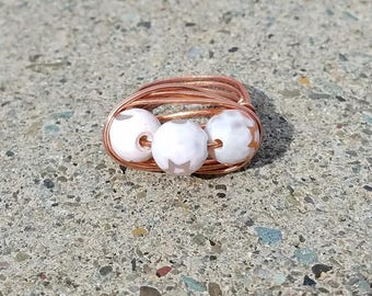 Three Stone Copper Wire Wrapped Ring