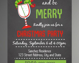 HOLIDAY SPECIAL Chalkboard Christmas Party Invitation - Christmas Invitation - Holiday Invitation - Instant Download