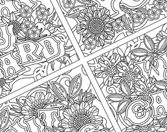 1 Adult Coloring Page Happy Birthday Card Instant Download