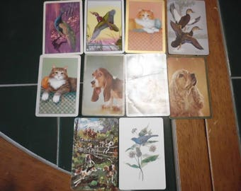 10 Vintage Playing Cards Animal Themed Birds Cats Dogs Horses Trade Swap ATC
