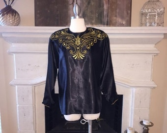 EVERYTHING ON SALE Laura & Jayne Collection ~ Vintage Black with Gold Stitching and Beads Top ~ Size 10