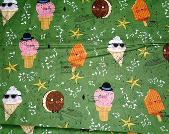 Bessie and the Dairyinettes Ice Cream Cones Cotton Fabric Andover Red  By the Yard