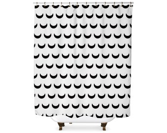 Black and white crescent moon pattern shower curtain