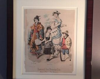 Vintage Costume Fashion Print Journal Des Demoiselles / Victorian and Japanese Fashion Print / 1800s Fashion / Modes De Paris