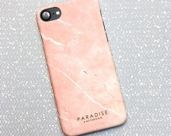 Mineral Peach marble case phone cover iPhone Samsung Galaxy stone pink rose