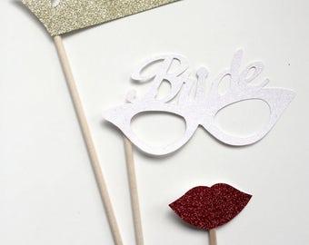 3-Piece Bride Photo Booth Prop Set- Bachelorette, Wedding, Glasses, lips tiara/crown glitter Photo Booth Prop